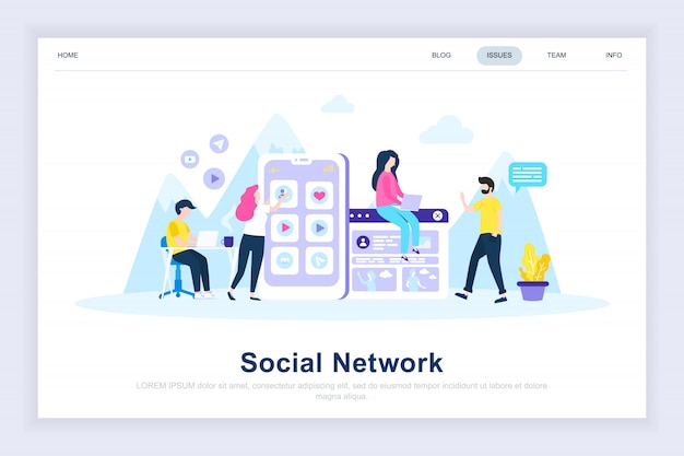 Página de aterrissagem plana moderna da rede social Vetor Premium