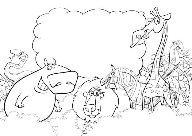 Pagina De Colorir Animais Selvagens Vetor Premium