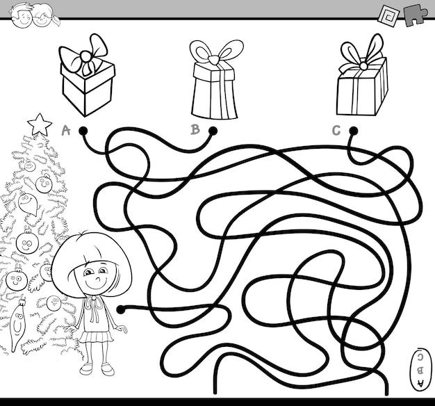 Página de colorir do caminho para o labirinto Vetor Premium