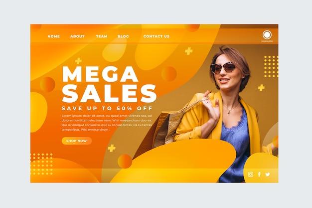 Página de destino abstrata de vendas com imagem Vetor grátis