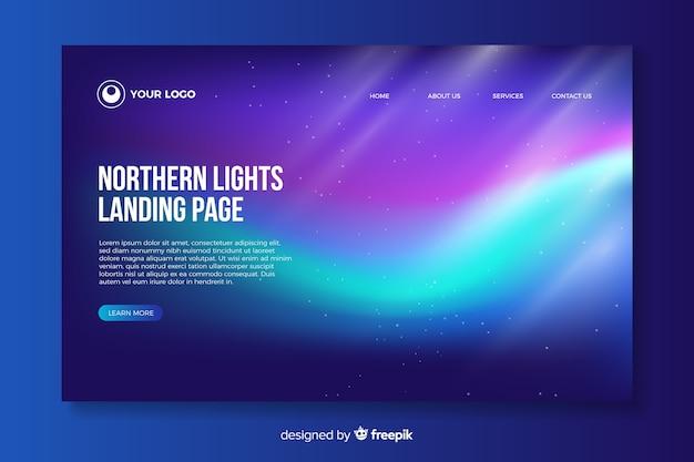 Página de destino brilhante da aurora boreal Vetor grátis