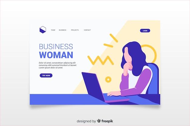Página de destino colorida com ilustração de mulher de negócios Vetor grátis