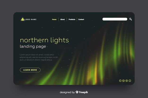 Página de destino colorida da luz do norte Vetor grátis
