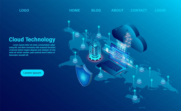 Página de destino com conceito de computação em nuvem. tecnologia de computação online. conceito de processamento grande do fluxo de dados, servidores 3d e datacenter. design plano isométrico Vetor Premium