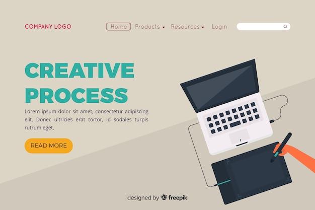 Página de destino com conceito de processo criativo Vetor grátis