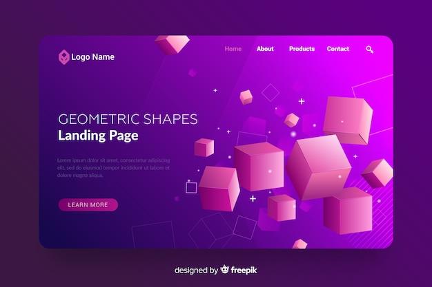 Página de destino com formas geométricas 3d Vetor grátis