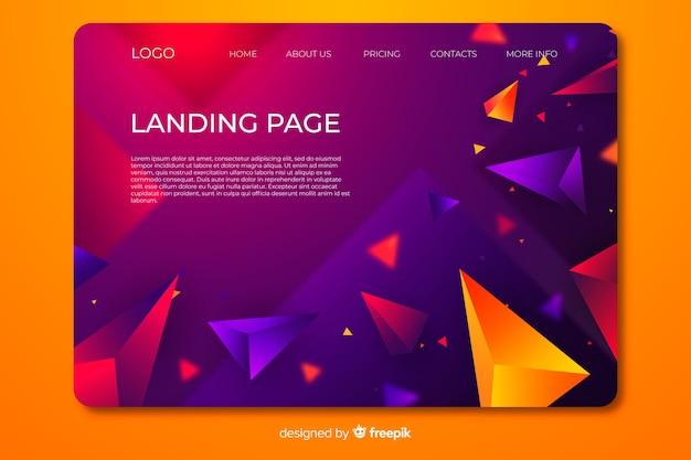 Página de destino com formas geométricas em 3d Vetor grátis