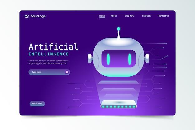 Página de destino com inteligência artificial Vetor grátis
