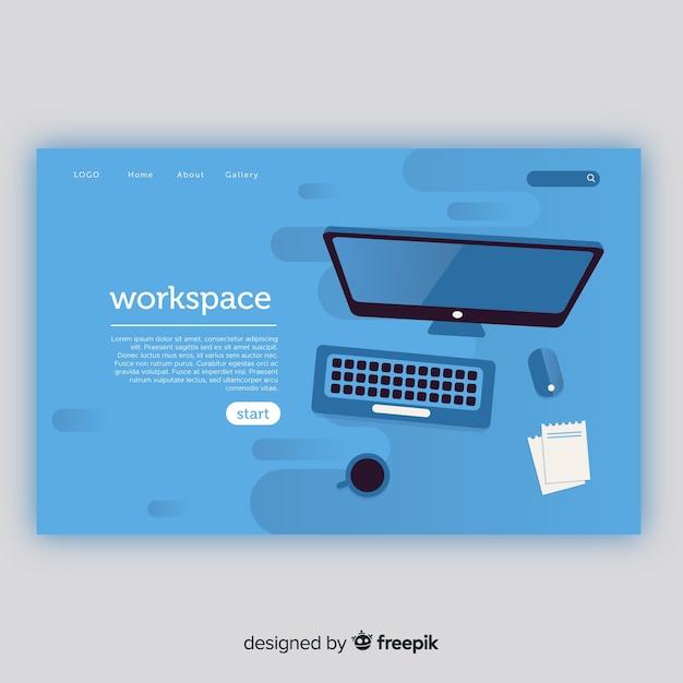 Página de destino com o conceito de espaço de trabalho Vetor grátis