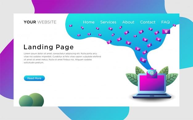 Página de destino com serviços de email Vetor Premium