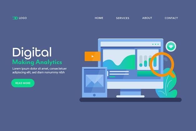 Página de destino conceitual do relatório de marketing digital Vetor Premium