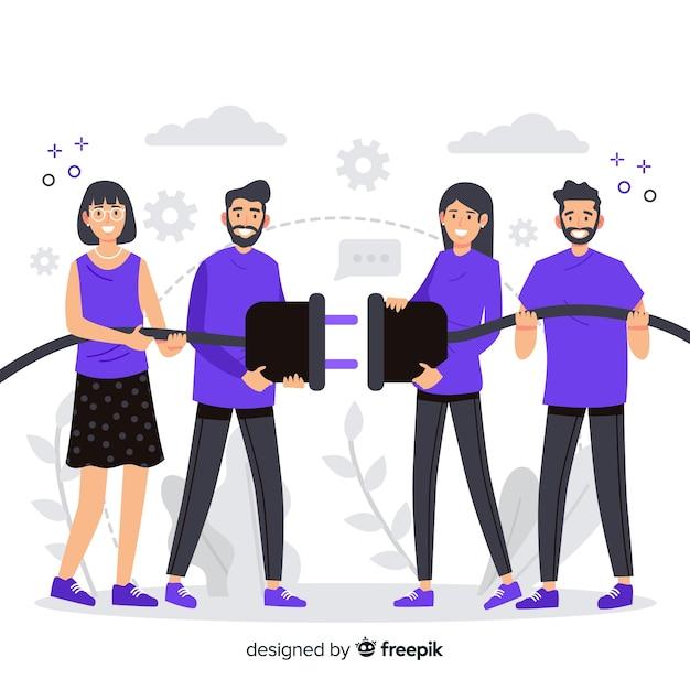 Página de destino conectando o conceito de equipes Vetor grátis
