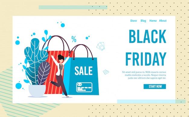 Página de destino convidando na venda on-line da black friday Vetor Premium