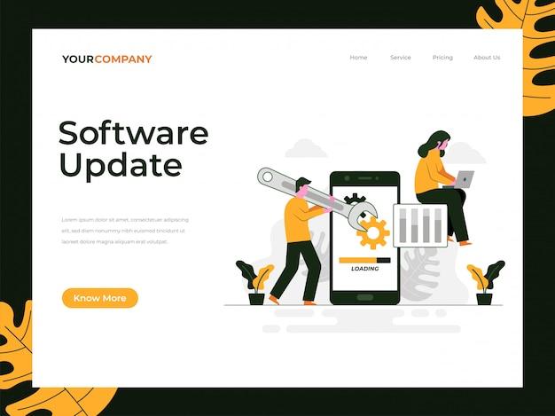 Página de destino da atualização de software Vetor Premium