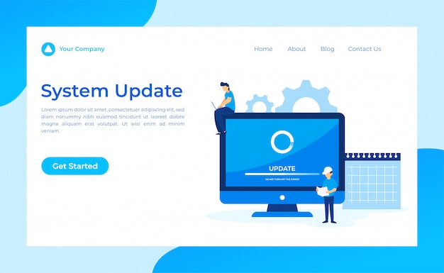 Página de destino da atualização do sistema Vetor Premium