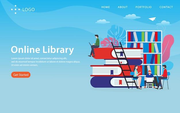 Página de destino da biblioteca on-line Vetor Premium
