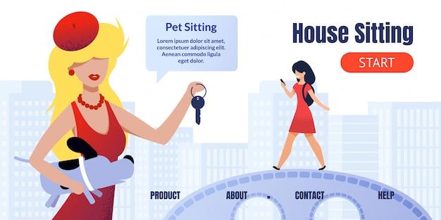Página de destino da casa de pesquisa e serviço de babás de animais Vetor Premium