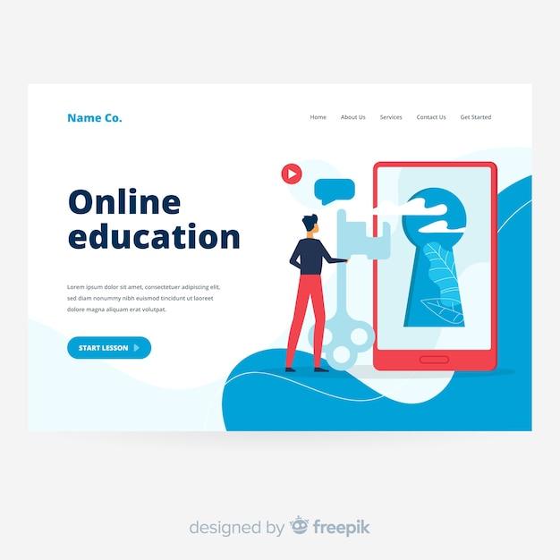 Página de destino da educação on-line com tela Vetor grátis