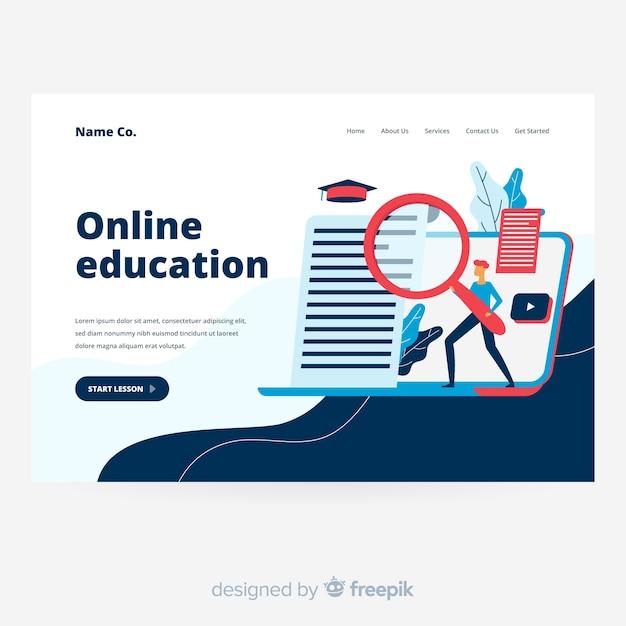 Página de destino da educação on-line em design plano Vetor grátis