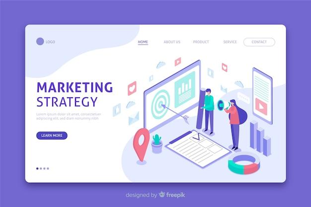 Página de destino da estratégia de marketing em design isométrico Vetor grátis