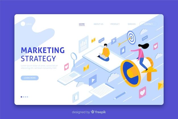 Página de destino da estratégia de marketing isométrica Vetor grátis