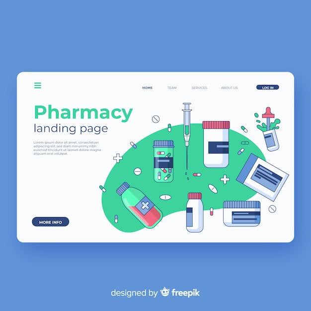 Página de destino da farmácia Vetor grátis