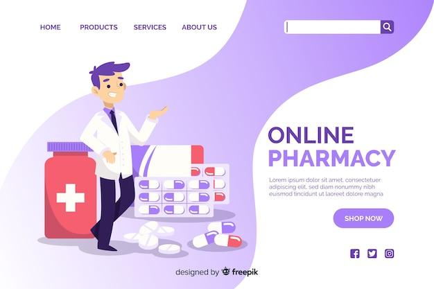 Página de destino da farmácia Vetor Premium