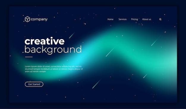 Página de destino da forma de gradiente fluido colorido na moda Vetor Premium