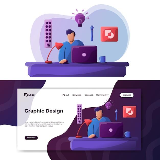 Página de destino da ilustração de design gráfico Vetor Premium
