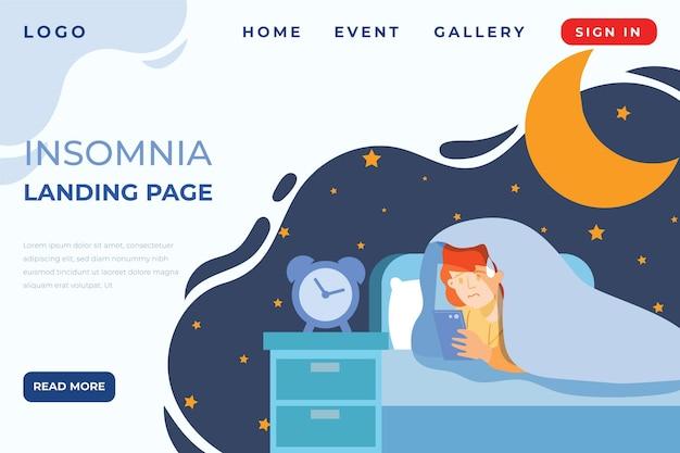 Página de destino da insomnia Vetor grátis