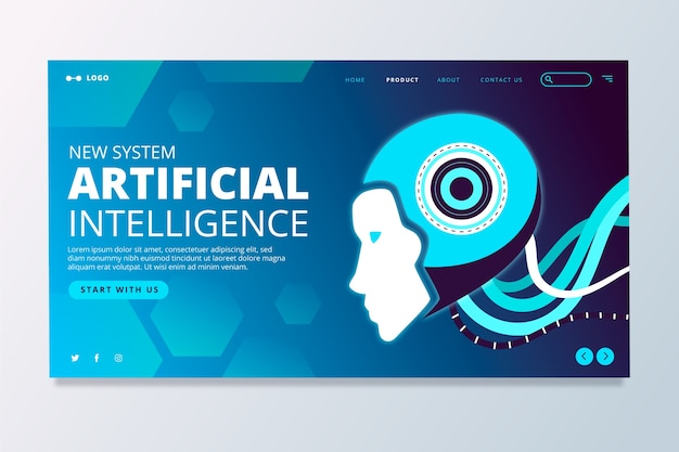 Página de destino da inteligência artificial Vetor grátis