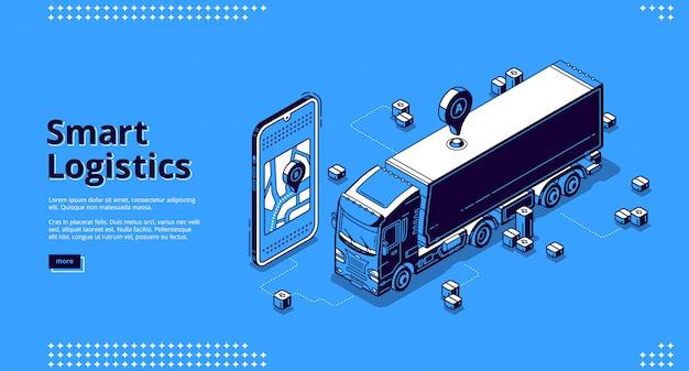 Página de destino da logística inteligente Vetor grátis