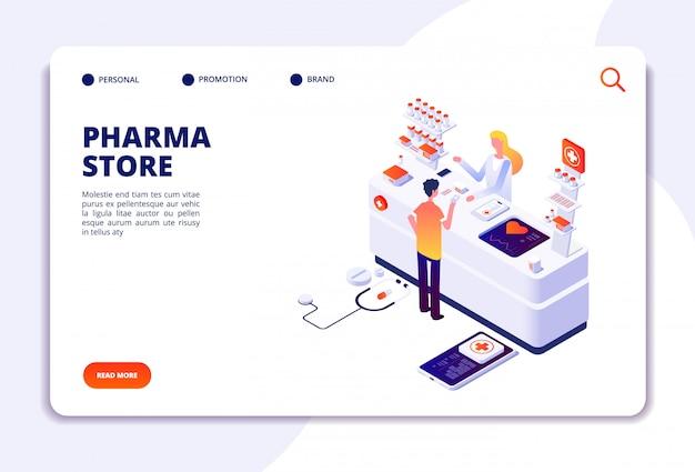 Página de destino da loja de farmácias Vetor Premium