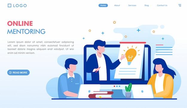 Página de destino da mentoria on-line Vetor Premium