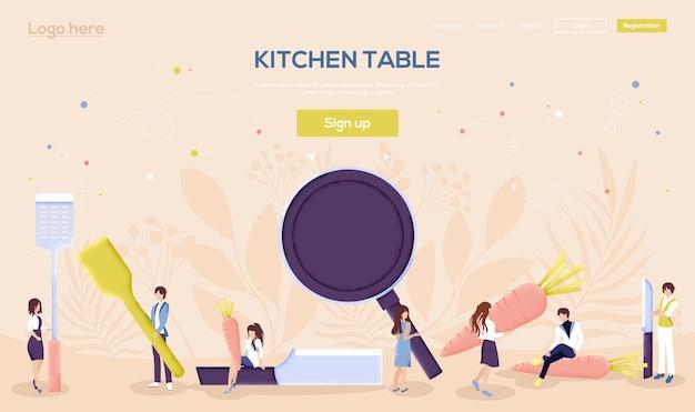 Página de destino da mesa da cozinha Vetor Premium