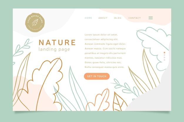 Página de destino da natureza desenhada à mão Vetor grátis
