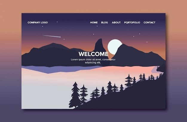Página de destino da paisagem Vetor Premium