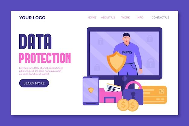 Página de destino da proteção cibernética de dados Vetor grátis