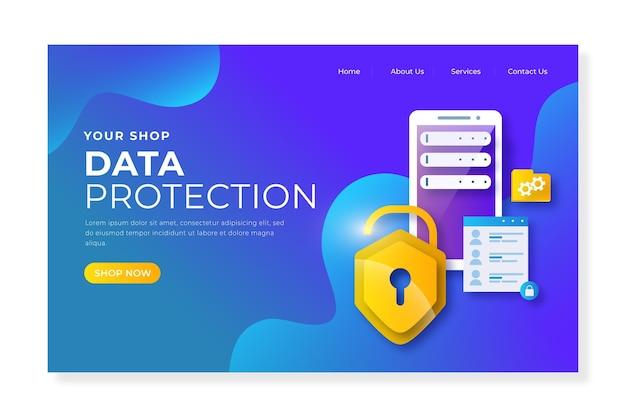 Página de destino da proteção de dados Vetor Premium