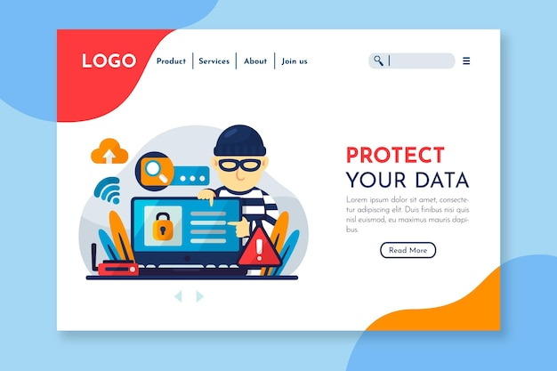 Página de destino da proteção de dados Vetor grátis