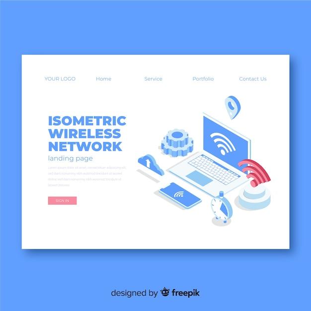 Página de destino da rede sem fio isométrica Vetor grátis