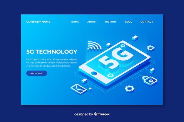 Página de destino da tecnologia 5g em design isométrico Vetor grátis
