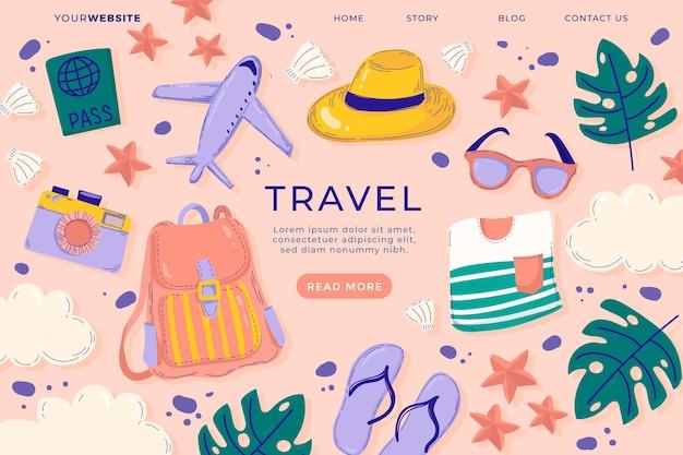 Página de destino da viagem Vetor Premium
