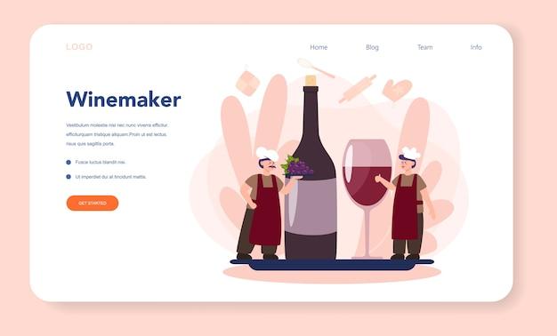Página de destino da web do fabricante de vinhos. homem vestindo seu avental com uma garrafa de vinho tinto e um copo cheio de bebida alcoólica. vinho de uva em barrica de madeira, arrumação do vinho. ilustração vetorial isolada Vetor Premium