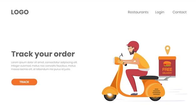 Página de destino da web para pedidos de comida on-line Vetor Premium