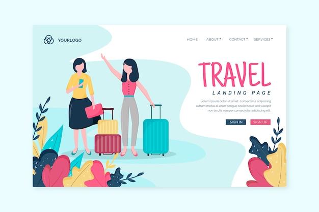 Página de destino das viagens de modelo Vetor grátis