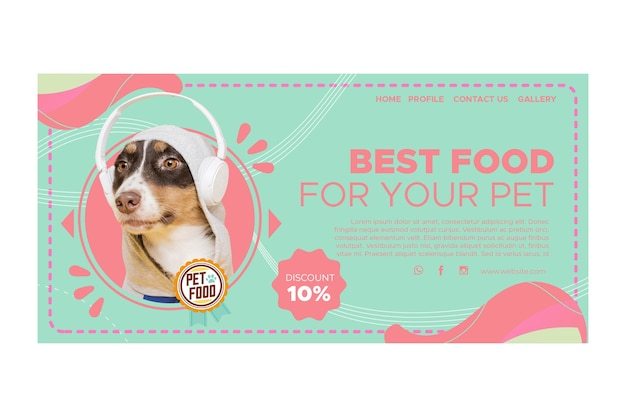 Página de destino de alimentos para animais Vetor Premium