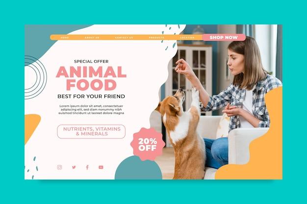 Página de destino de alimentos para animais Vetor grátis