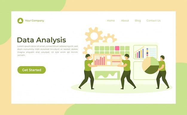 Página de destino de análise de dados Vetor Premium