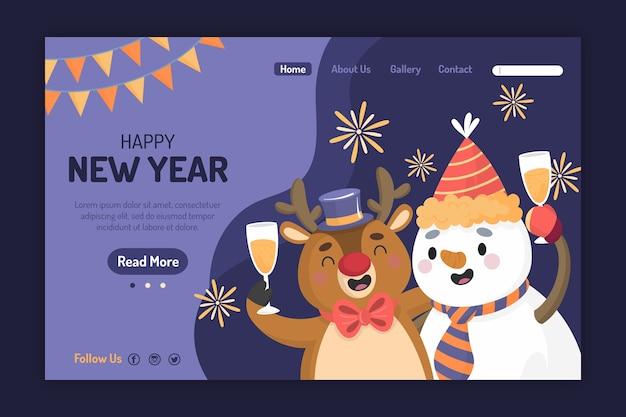 Página de destino de ano novo desenhada de mão Vetor grátis